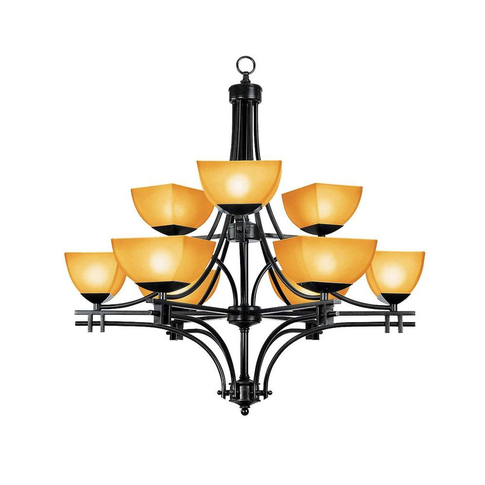 Access Lighting 9-Light Chandelier Antique Bronze Finish Amber Glass -DISCONTINUED