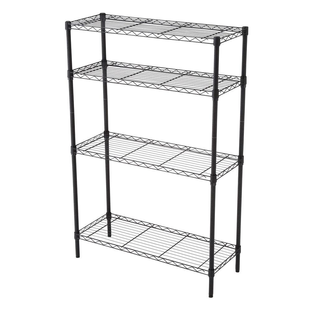 HDX HDX 35-5/7 in. W x 53-3/4 in. H x 14 in. D Matte Black 4-Tier Wire Shelf