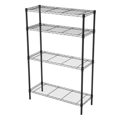 35-5/7 in. W x 53-3/4 in. H x 14 in. D Matte Black 4-Tier Wire Shelf