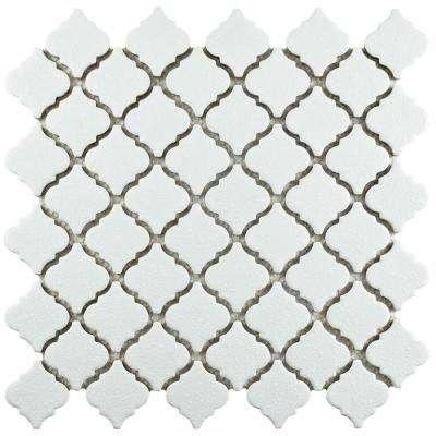 Hudson Tangier Crystalline White 12-3/8 in. x 12-1/2 in. x 5 mm Porcelain Mosaic Tile