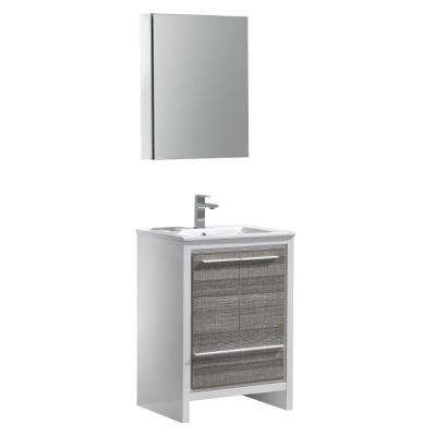 Allier Rio 24 in. Modern Bathroom Vanity in Ash Gray with Ceramic Vanity Top in White and Medicine Cabinet