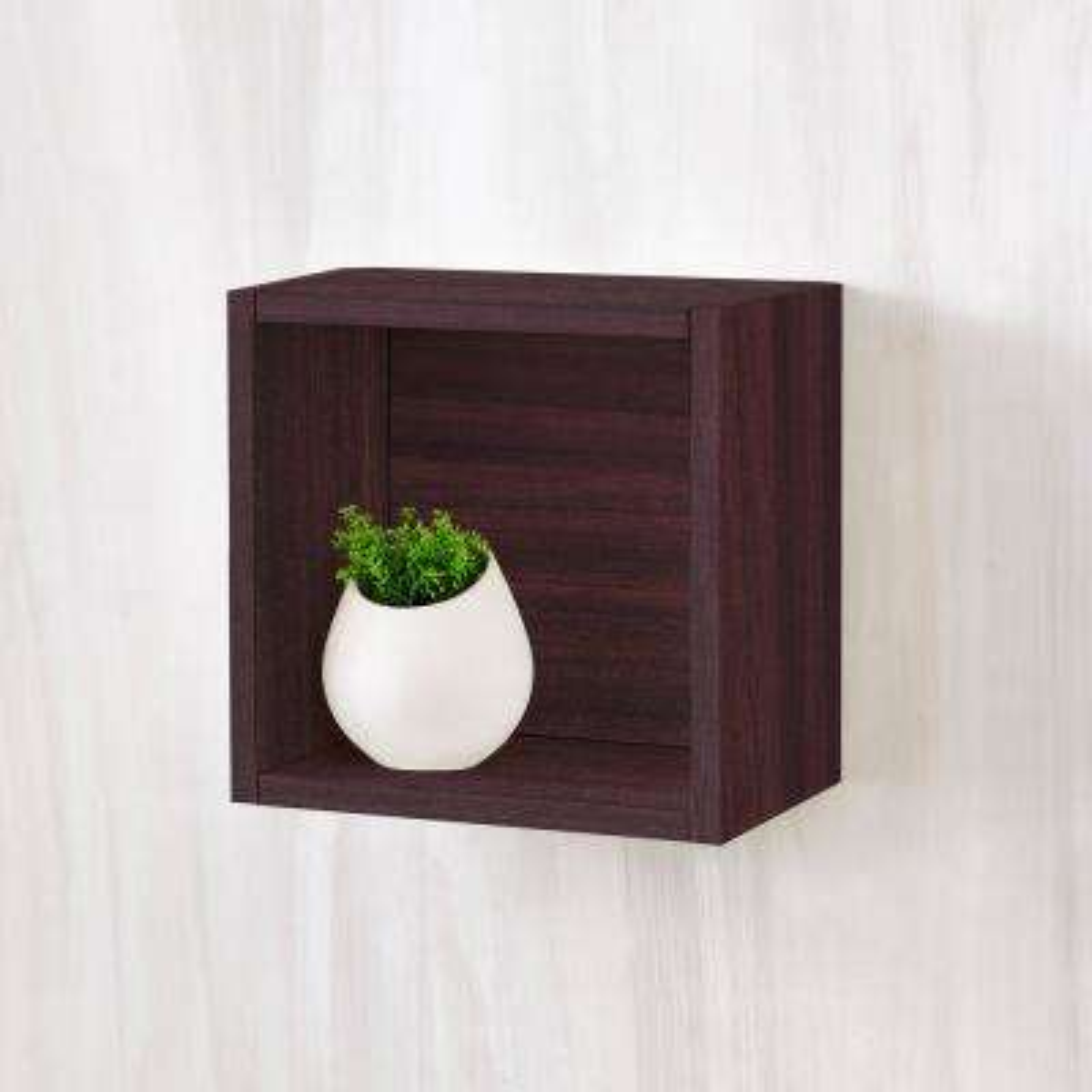 Halifax 7.7 x 11.2 x 11.2 zBoard  Wall Cube Decorative Floating Shelf in Espresso Wood Grain