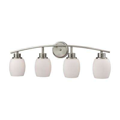 Casual Mission 4-Light Brushed Nickel with White Lined Glass Bath Light