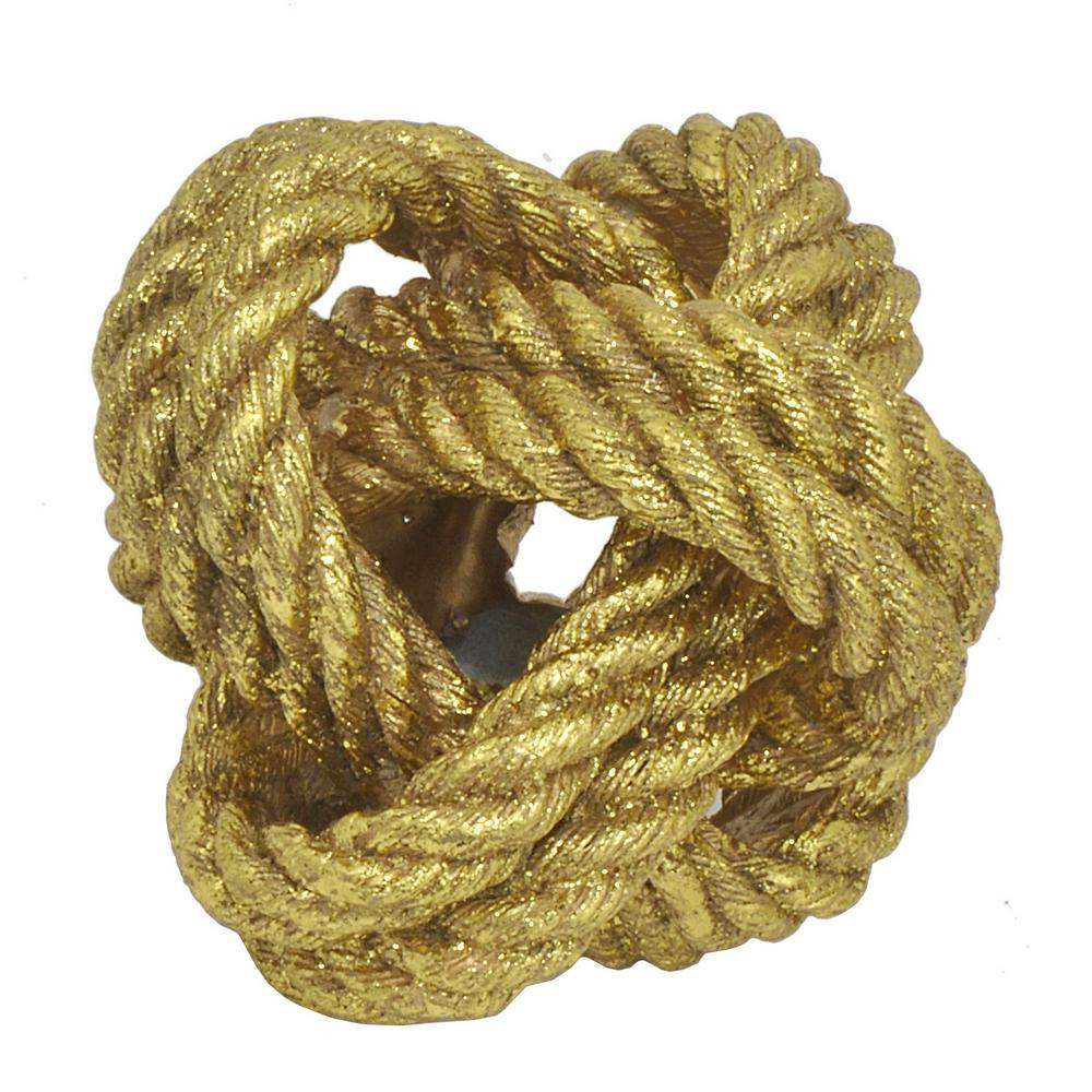 THREE HANDS Gold Resin Rope Knot Decor-26786 - The Home Depot
