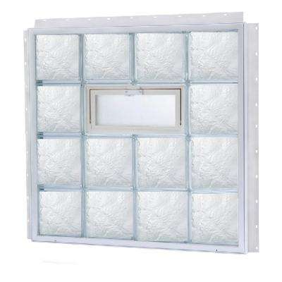 21.875 in. x 18.125 in. NailUp2 Vented Ice Pattern Glass Block Window