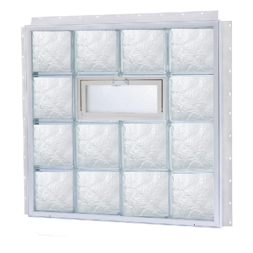 TAFCO WINDOWS NailUp 56 in. x 32 in. x 3-3/4 in. Ice Pattern Vented Glass Block New Construction Window with Vinyl Frame-DISCONTINUED