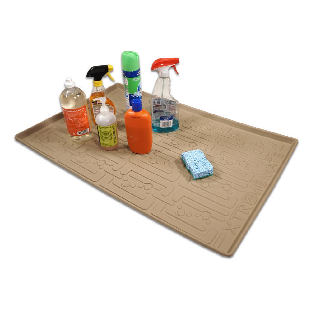 21-5/8 in. x 21-7/8 in. Beige Kitchen Depth Under Sink Cabinet Mat Drip Tray Shelf Liner