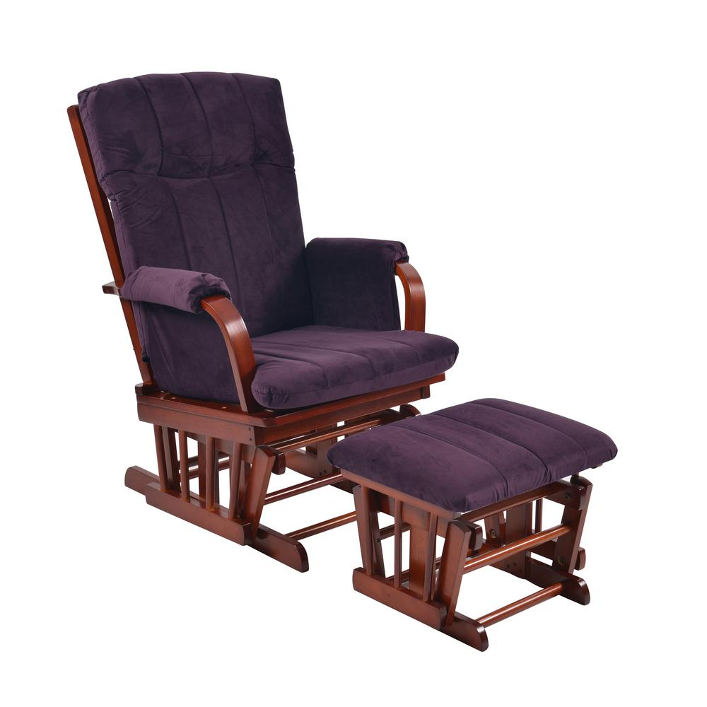 Artiva Home Deluxe Purple Microfiber Cherry Wood Glider