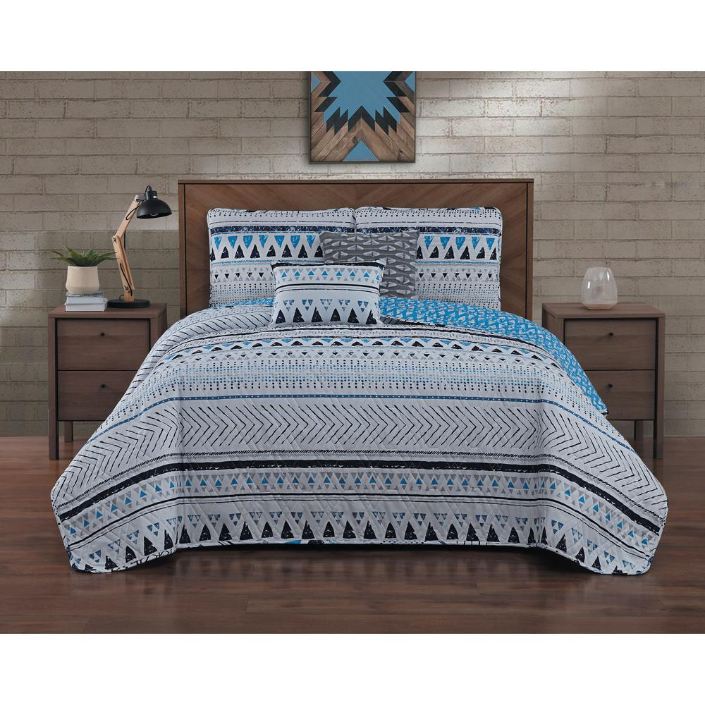 Imani 5-Piece Blue Queen Quilt Set