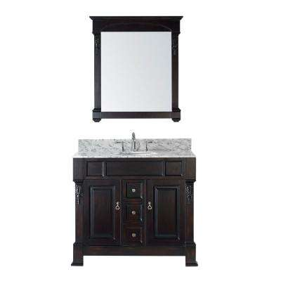 Huntshire 40 in. W Bath Vanity in Dark Espresso with Marble Vanity Top in White with Round Basin and Mirror