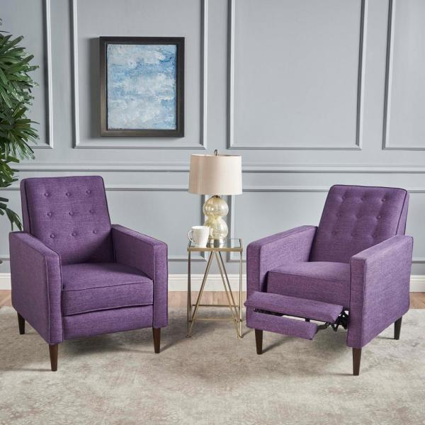 Mervynn Muted Purple and Dark Espresso Upholstered Recliner (Set of 2)