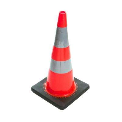 28 in. H Orange PVC Reflective Traffic Safety Cones with Black Base (6-Pack)