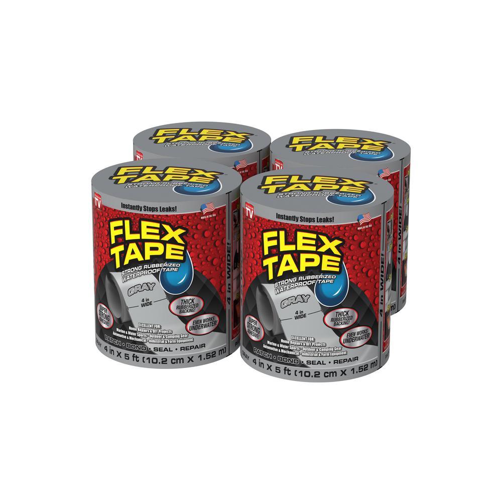 Flex Tape Gray 4 in. x 5 ft. Strong Rubberized Waterproof Tape (4-Piece)