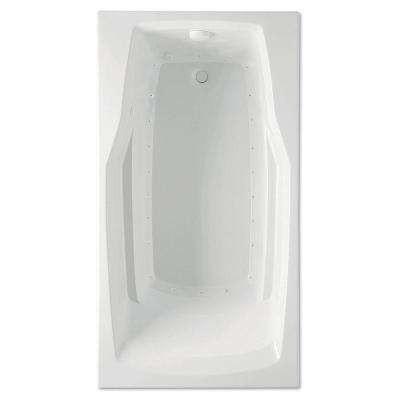 Derby 60 in. Acrylic Reversible Drain Rectangle Drop-In Air Bath Tub in White