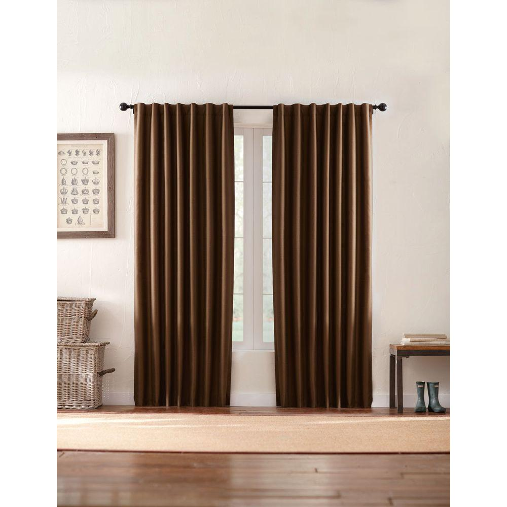 Home Decorators Collection Semi Opaque Deep Brown Textured Thermal Back Tab Curtain 1624002