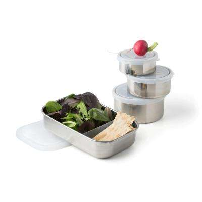 25 oz., 16 oz., 9 oz. and 5 oz. Leak Proof Stainless Steel Foods Storage Containers (Set of 4)