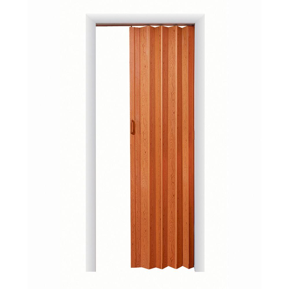 Spectrum 32 in x 80 in oakmont vinyl pecan accordion for Accordion doors