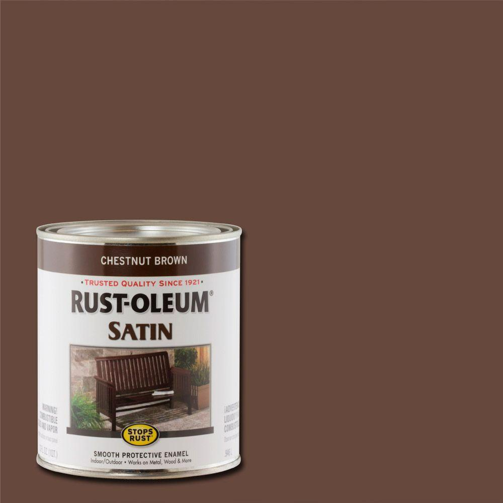 Protective Enamel Satin Chestnut Brown Interior Exterior Paint 2 Pack