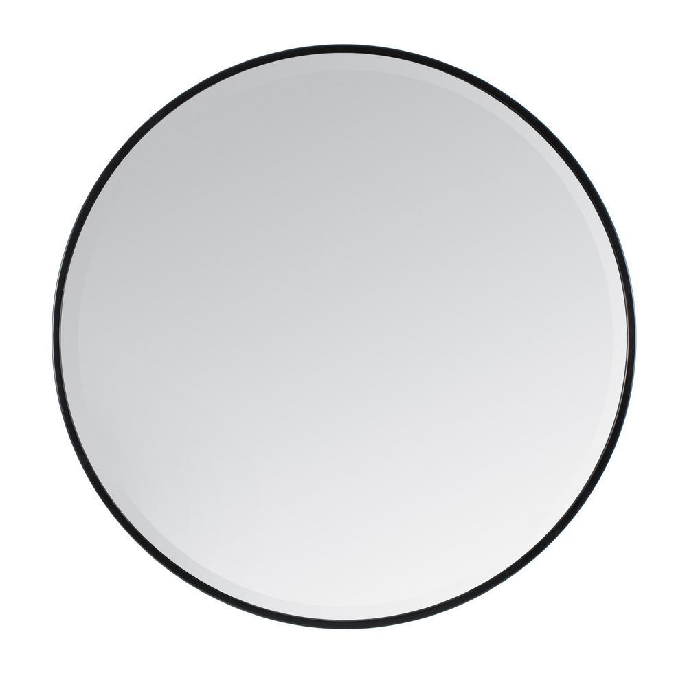 Medium Round Black Beveled Glass Modern Mirror (36 in. H x 36 in. W)