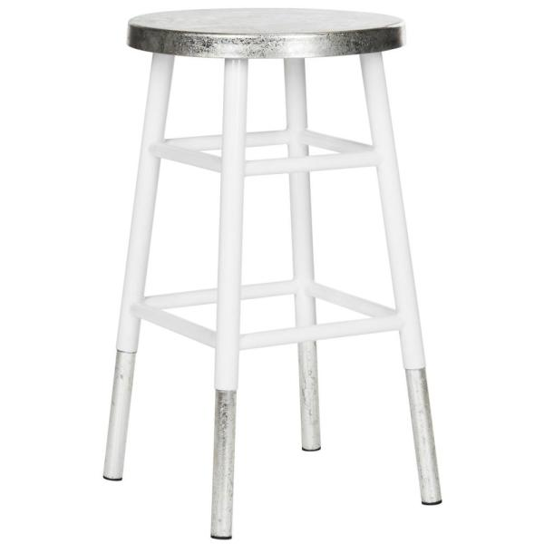 Safavieh Kenzie 24 In Silver Dipped Counter Stool In White Fox3211b The Home Depot