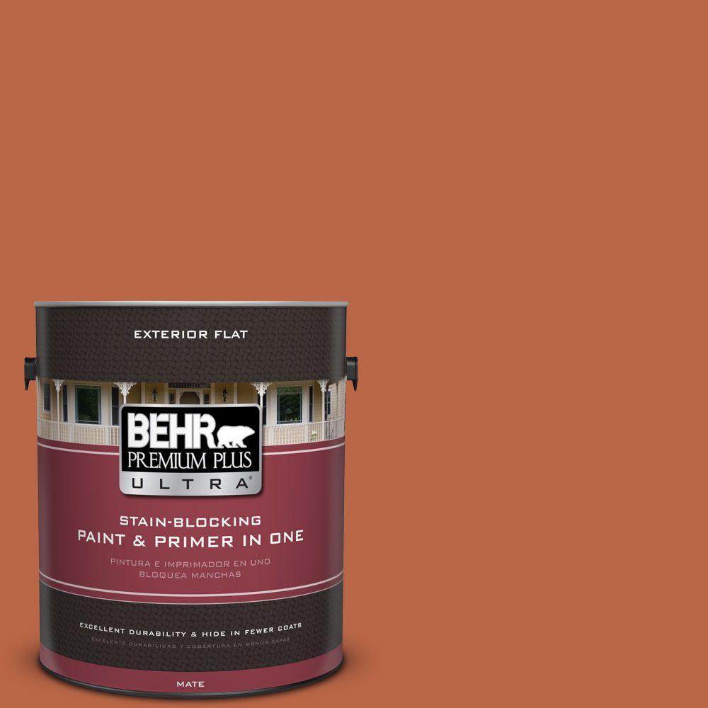 BEHR Premium Plus Ultra 1 gal. #hdc-FL15-01 Pumpkin Drizzle Flat Exterior Paint, Oranges/Peaches