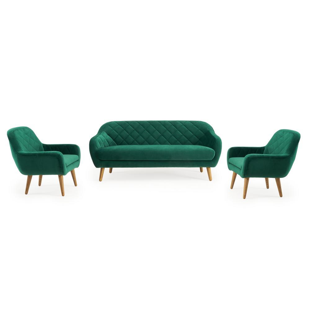 Isobel 3-Piece Emerald Green Seating Set