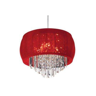 Catherine 3 Light Halogen Polished Chrome Chandelier with Red Lycra Shades