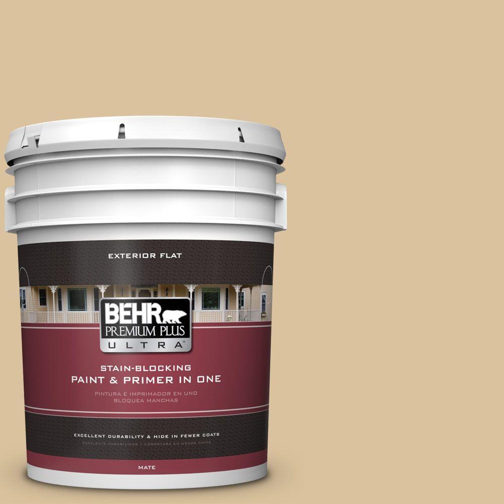 BEHR Premium Plus Ultra 5-gal. #S310-3 Natural Twine Flat Exterior Paint