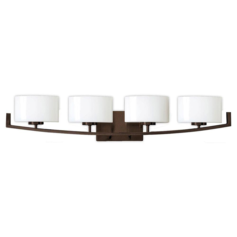 Burye 4-Light Oil Rubbed Bronze Vanity Light with Etched White Glass