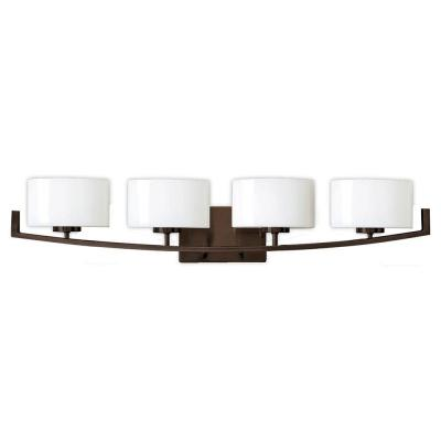 Burye 4-Light Oil Rubbed Bronze Vanity Light with Etched White Glass Shades