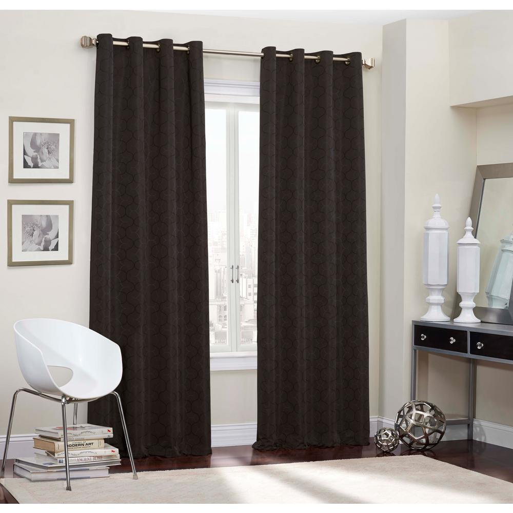 Room Darknening Smoke Smooth Polyester Grommet Curtain (1-Pair)