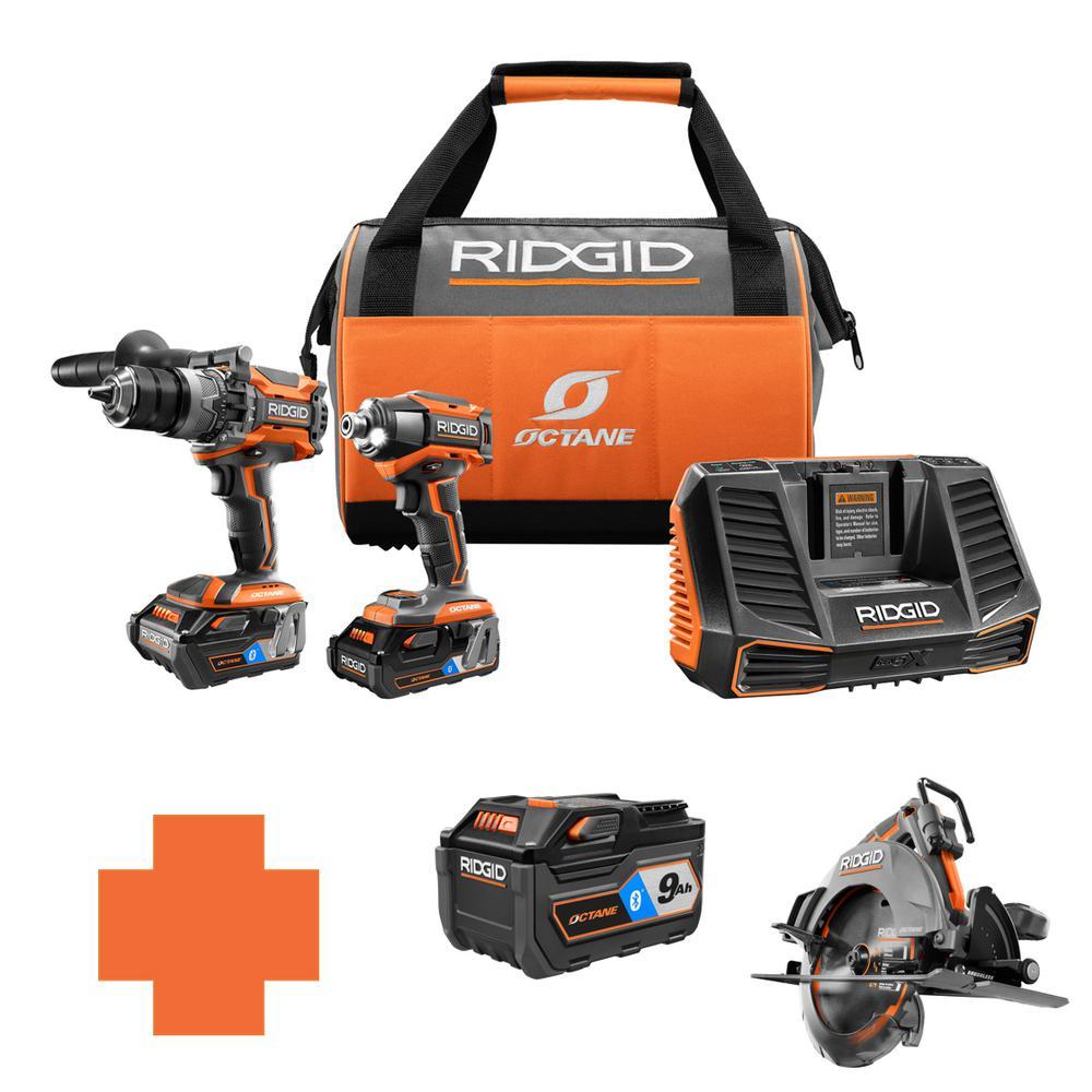 RIDGID 18-Volt OCTANE Lithium-Ion Cordless Brushless Combo Kit w/Bonus 7 1/4 in. Circ Saw & Bluetooth 9.0 Ah Battery