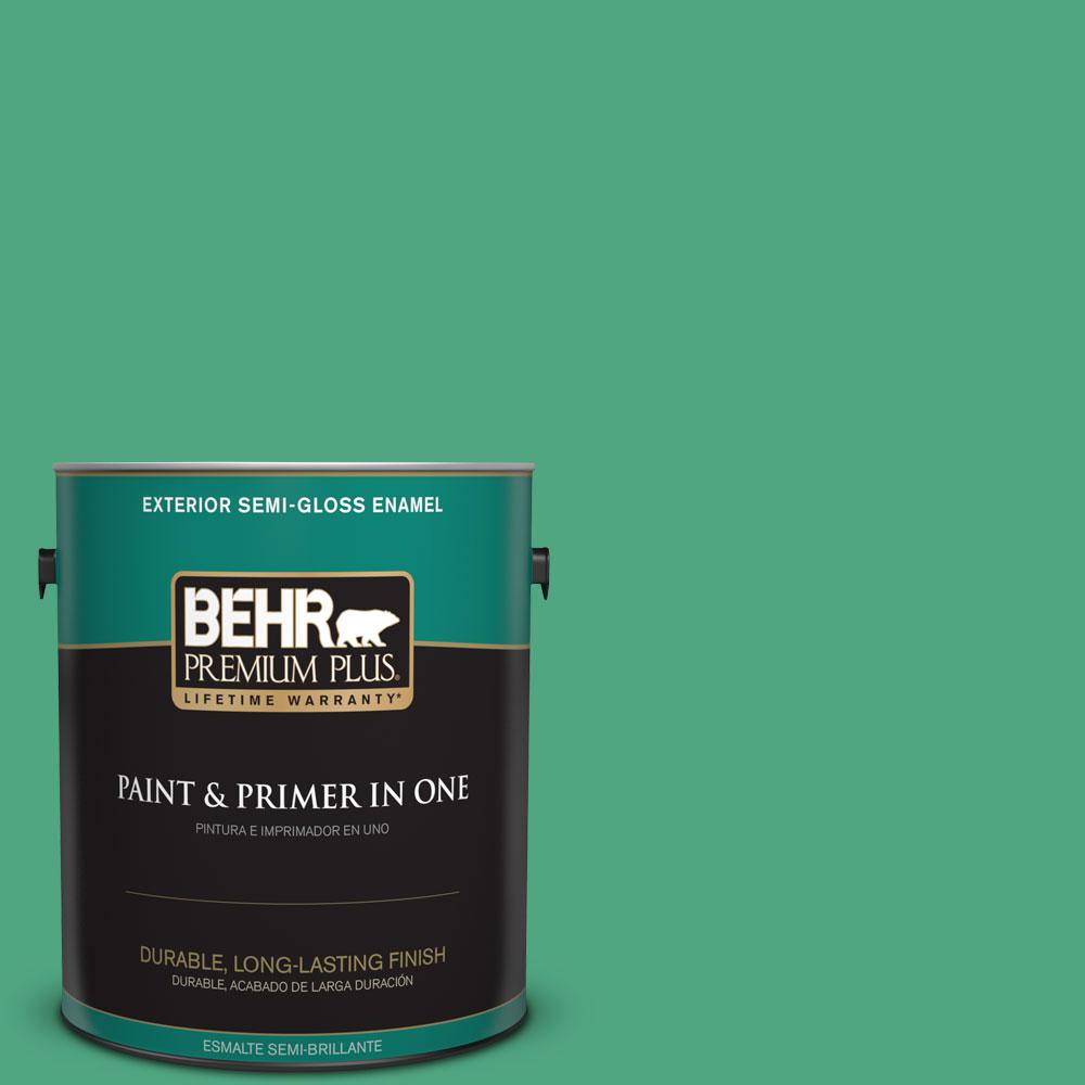 BEHR Premium Plus 1-gal. #P420-5 Shamrock Green Semi-Gloss Enamel Exterior Paint