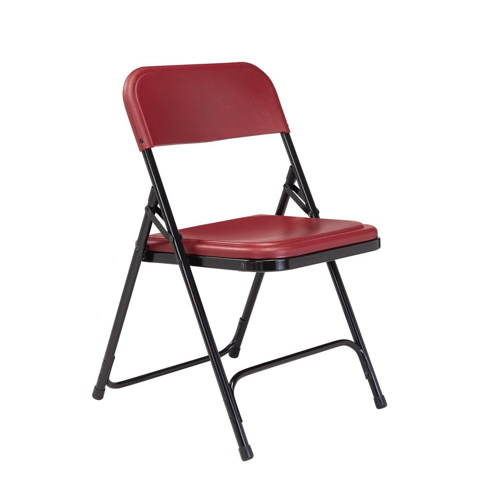 National Public Seating Burgundy Plastic Seat Stackable Outdoor Safe Folding Chair (Set of 4)