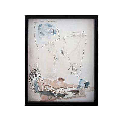 """41 in. x 31 in. """"Abstract Figure"""" Hand Painted Framed Canvas Wall Art"""