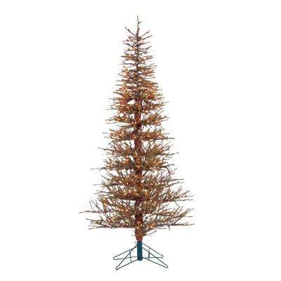 6 ft. Pre-Lit Hard Needle Brown Twig Artificial Christmas Tree with 400 Clear Lights