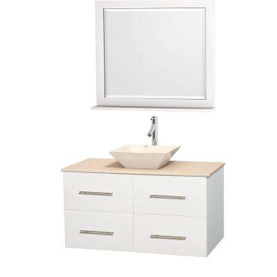 Centra 42 in. Vanity in White with Marble Vanity Top in Ivory, Bone Porcelain Sink and 36 in. Mirror