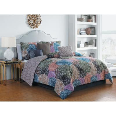 Giselle 7-Piece Autumn Multicolored Queen Comforter Set
