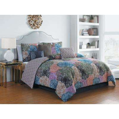 Giselle 7-Piece Multi Colored Queen Comforter Set