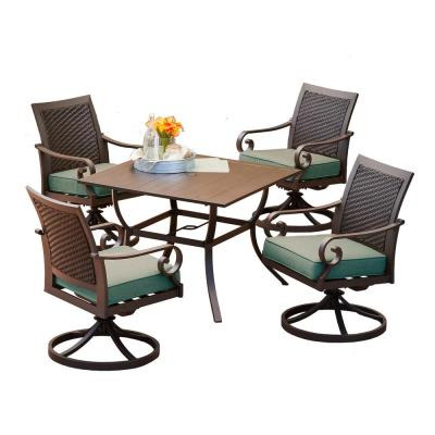 Milano 5-Piece Aluminum Swivel Outdoor Dining Set with Teal Cushions