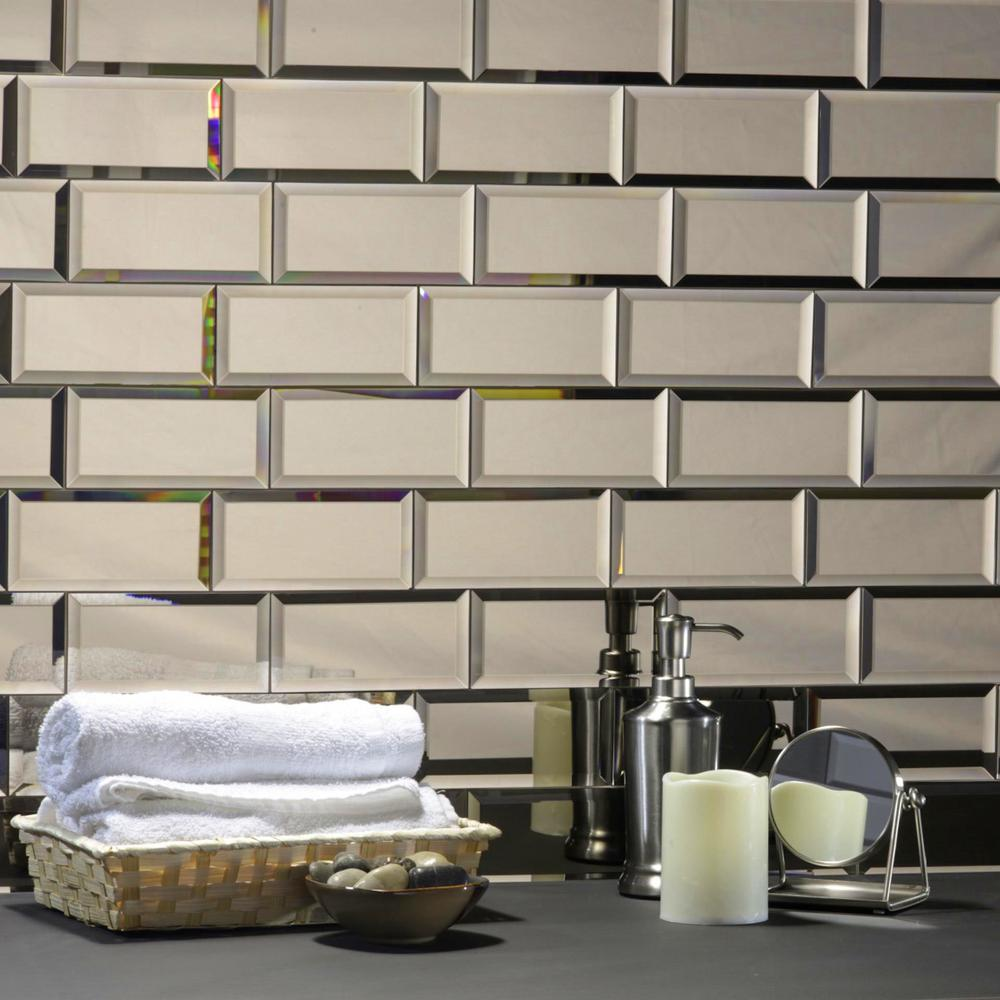 Abolos Echo 3 In X 6 In Gold Glass Mirror Peel And Stick - Glass-tile-backsplash-decoration