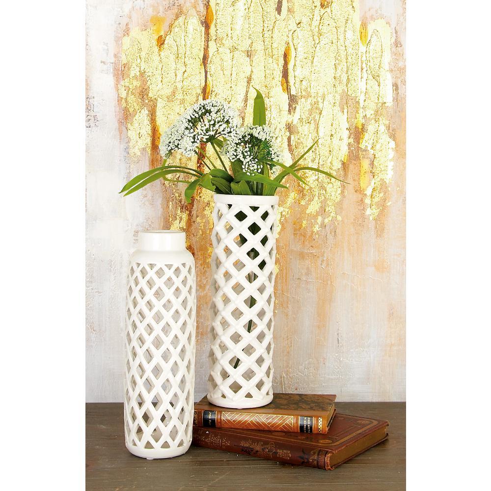 12 in. Modern Pearlescent White Ceramic Decorative Vases
