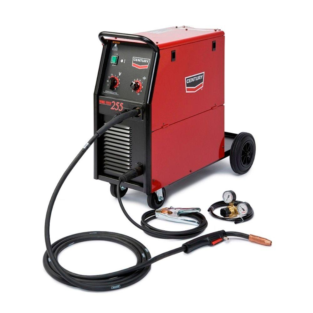 Century 255 Amp Wire Feed 255 MIG Wire Feed Welder with 250L Magnum Gun and Gas Regulator, Single Phase, 230V