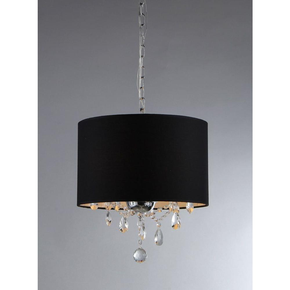 Warehouse Of Tiffany Juliana 3 Light Chrome Crystal Chandelier With Fabric Shade