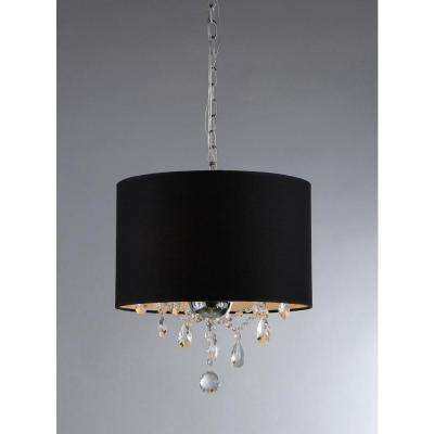 Juliana 3-Light Chrome Crystal Chandelier with Fabric Shade
