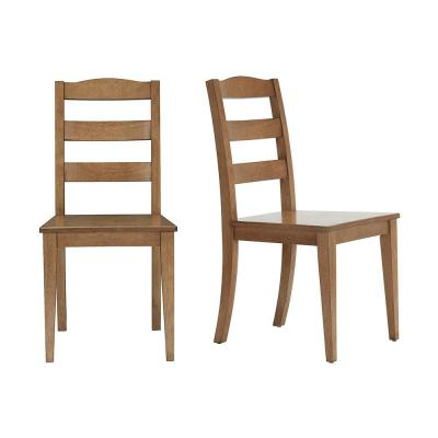 StyleWell Patina Oak Finish Dining Chair with Ladder Back (Set of 2) (17.72 in. W x 36.77 in. H)