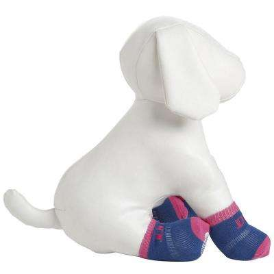 Large Purple and Blue Dog Socks with Rubberized Soles (Set of 4)