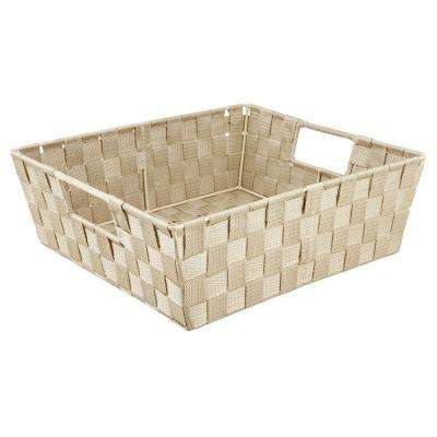 5 in. x 15 in. Woven Strap Shelf Tote Bin in Ivory