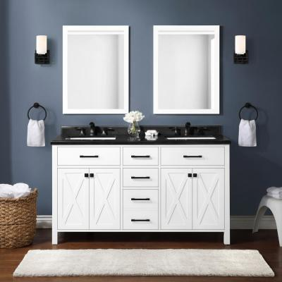 Ainsley 60 in. W x 22 in. D Vanity in White with Granite Vanity Top in Black with White Basins
