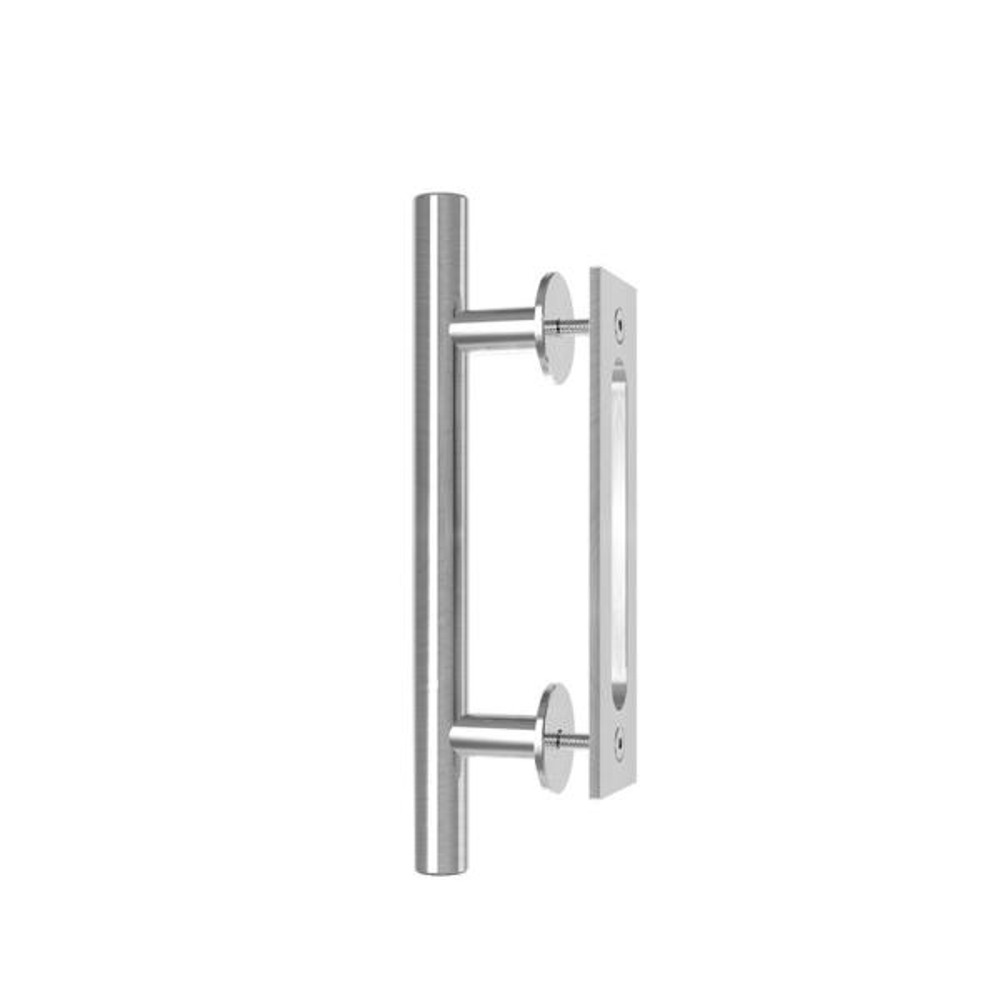 10 in. Stainless Steel Ladder Pull and Flush Sliding Barn Door Handle Set